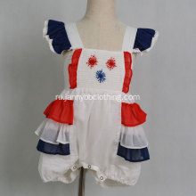 Baby Girls Embroidery July 4th Chiffon Baby Romper